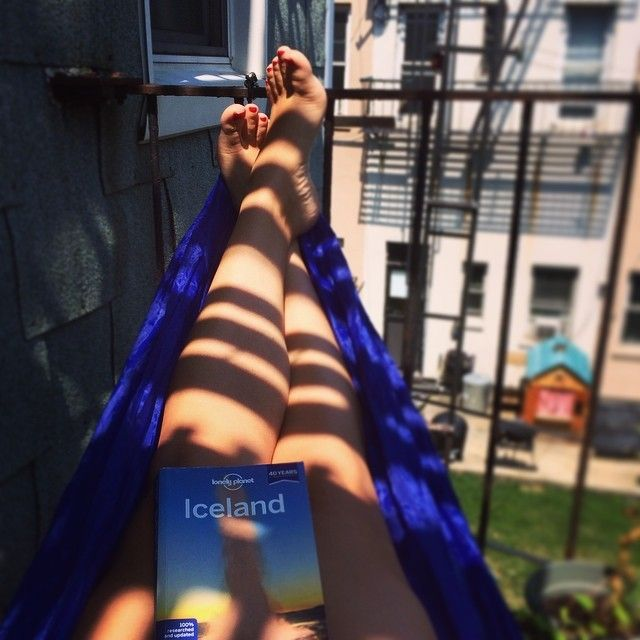 Iceland book in a hammock