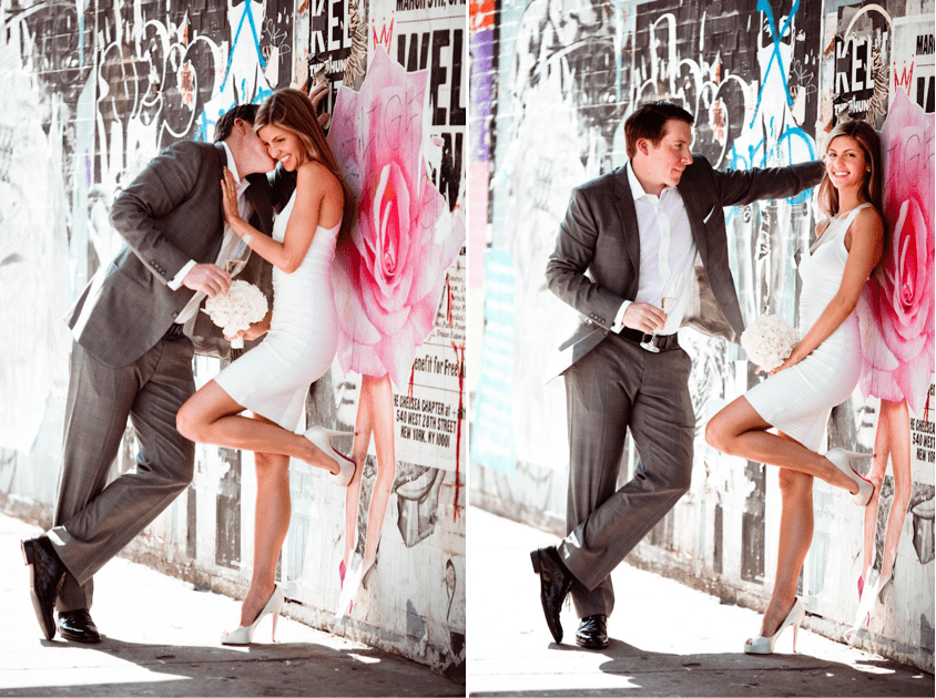 Wedding portraits by street art