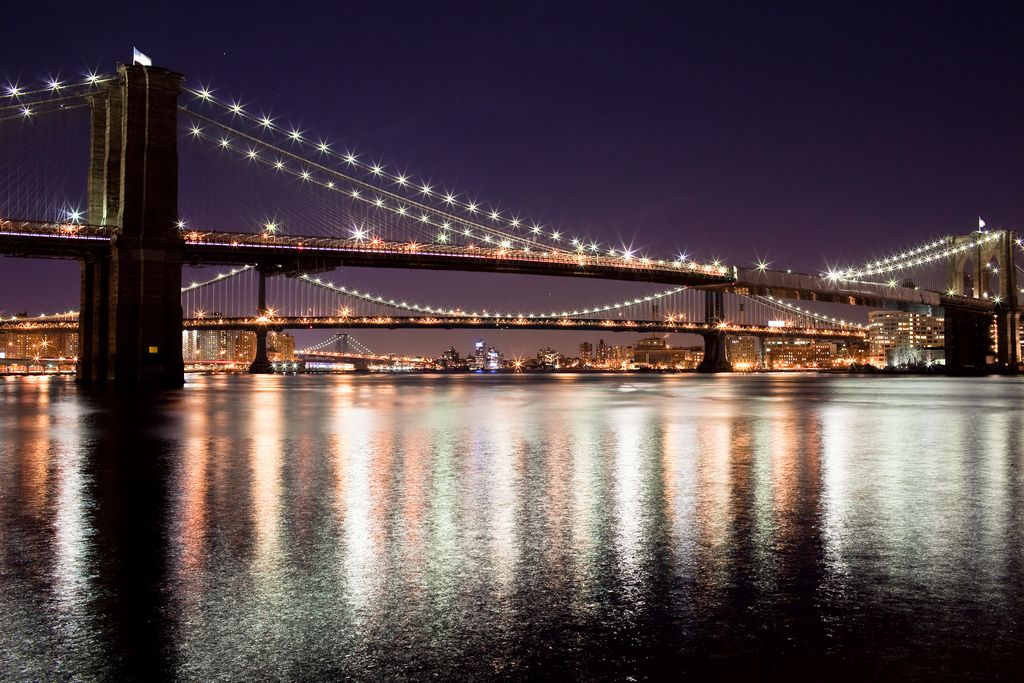 NYC bridges at night