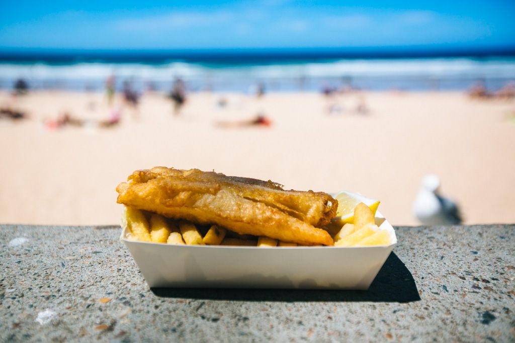 Manly Beach fish and chips