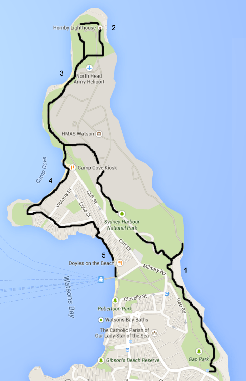 Sydney Harbour Walk map of Watsons Bay
