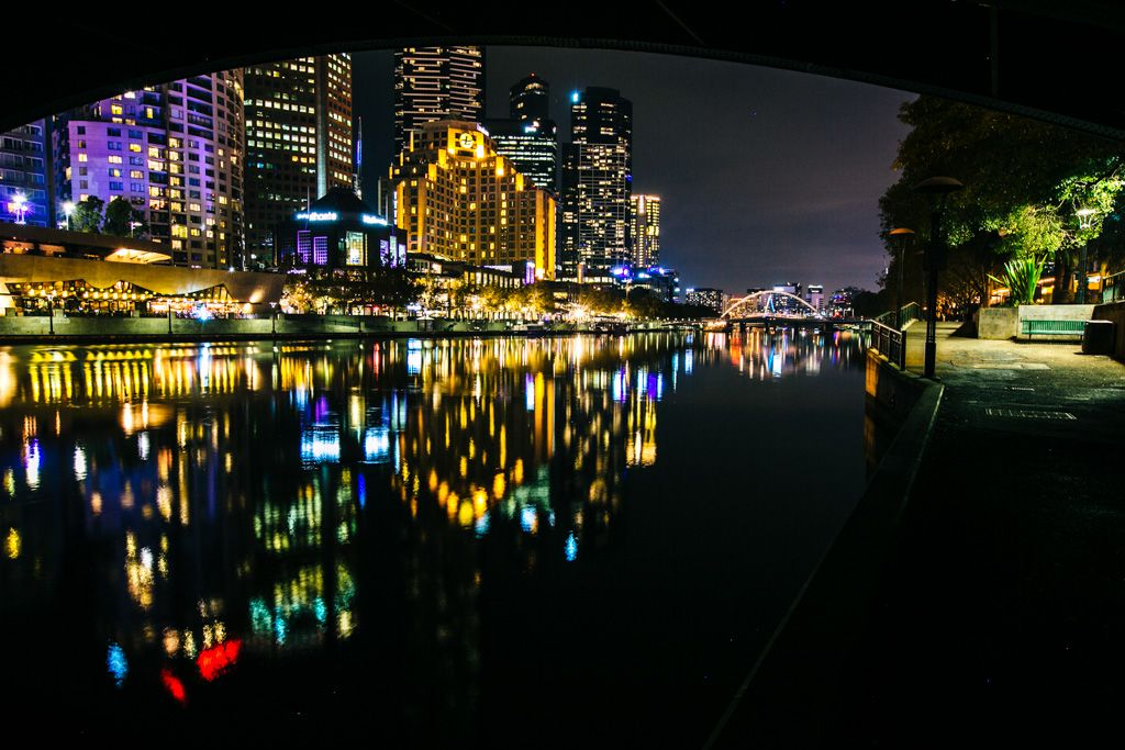 Yarra River by night in Melbourne Australia