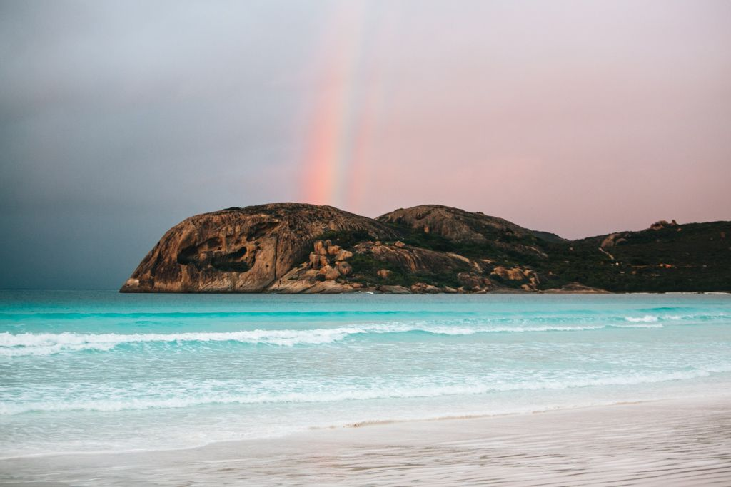 Rainbow at Lucky Bay in Cape Le Grand National Park, Western Australia