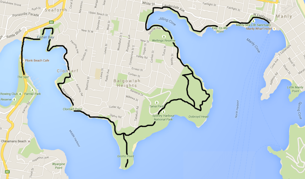 spit to manly walk map