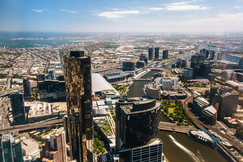 view of Melbourne from Eureka Tower