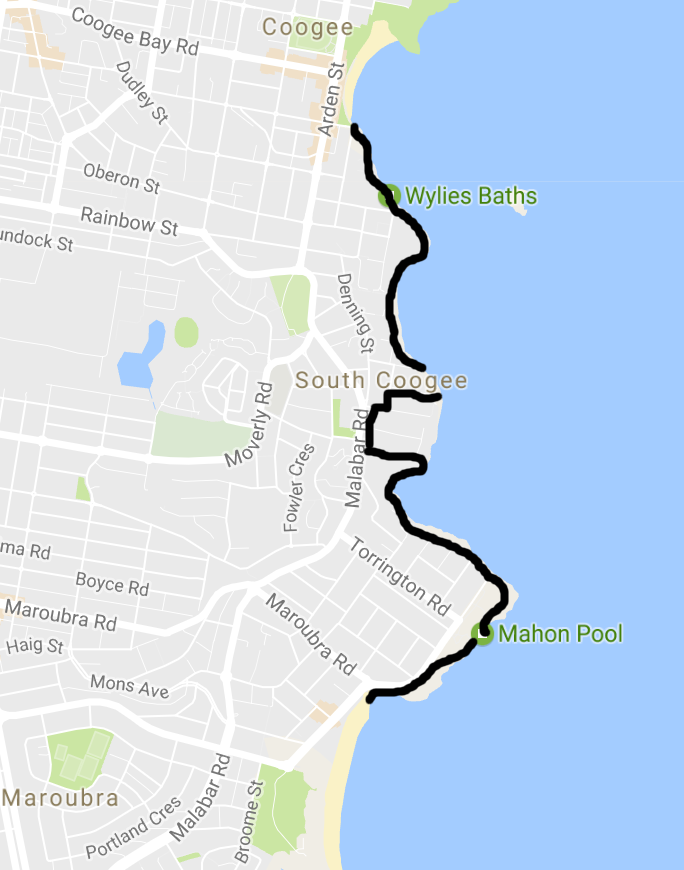 coogee to maroubra walk map